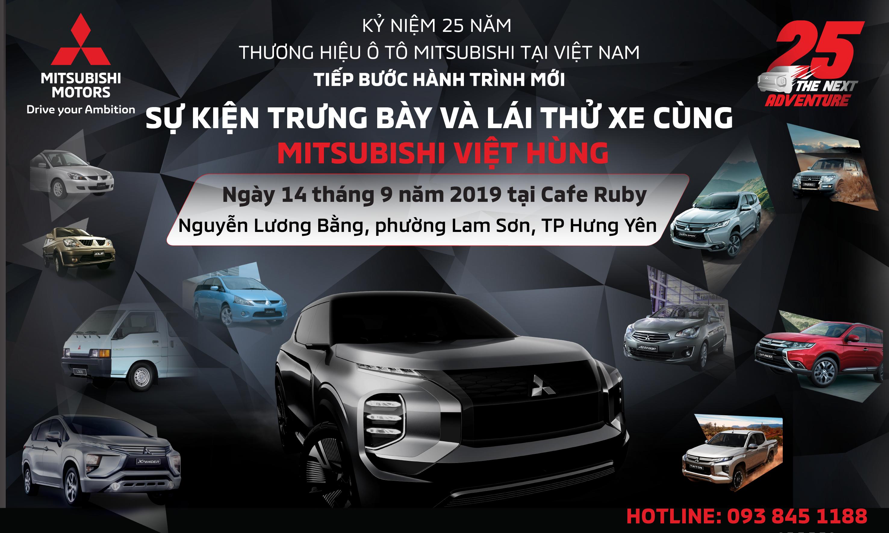 """Sự kiện """"Trưng bày và trải nghiệm xe cùng Mitsubishi Việt Hùng"""" ngày 14/09/2019"""