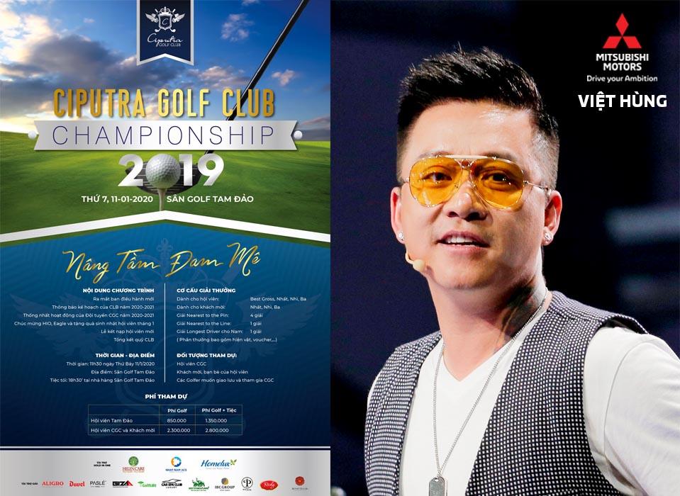 Ca sỹ Tuấn Hưng và Mitsubishi Việt Hùng đồng hành tại giải Ciputra Golf Club Championship 2019