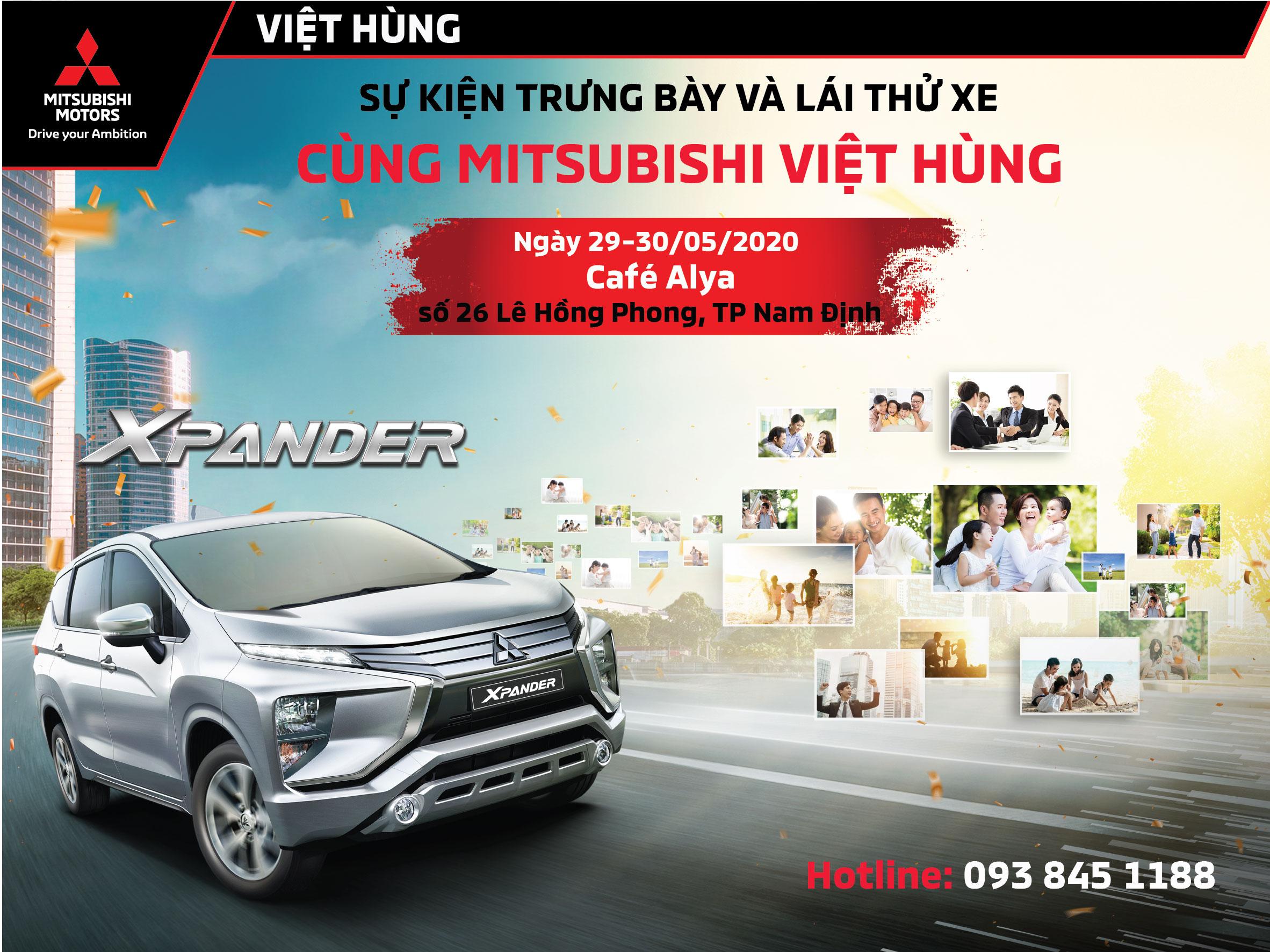 Sự kiện lái thử xe Mitsubishi ngày 29-30/05/2020 tại Alya cafe, số 26 Lê Hồng Phong, TP Nam Định